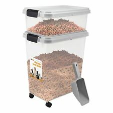Pet Food Storage Container With Lids Pet Animal Food etc with 2 cup Scoop Grey