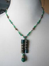 Stunning Czech Vintage Deco Green ? Peking Glass Marcasite Necklace