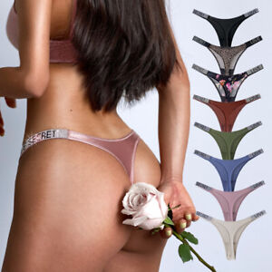 Letter Rhinestone Sexy Underwear Fitness Sports Hip Lifting Satin Panties Thong