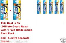 2 Gillette Guard Razor with blade cartridge +5 Extra Blades Cartridge Men Shave