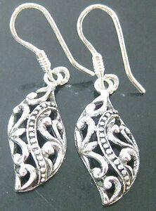 REAL 925 sterling silver Oxidised FILIGREE  & DOTS drop EARRINGS Teen Girl Women