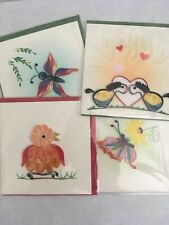 Paper quilling card hand made Blank Greeting Cards 4 Cards & Envelopes Included