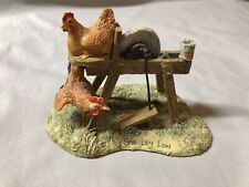 "Lowell Davis ""She Lay Low"" Figurine Chicken Hen Rooster Grinding Wheel Schmid"