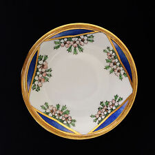 Antique Art Deco Limoges Apple Blossom Plate  B & Co. France Blue Gold Rim
