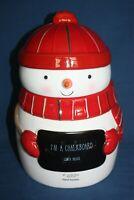 St Nicholas Square Merry Snowman Chalk Board Cookie Jar New NWT Mittens Muffler