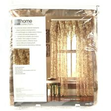 JcPenney Home Sheer Panel Rod Pocket Alexis Neutral Leaves 58 x 84 Nip Nos