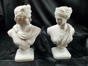 Vtg Mcm Alabaster Apollo and Diana Bust Italian made Sculpture pair