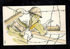 Mint Japan Army Picture Postcard Soldier Cutting Barbed Wire WW 2