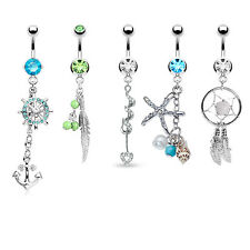 Tribal Set Belly Button Rings 5 Pieces Dangle Belly Button Rings Wholesale Lot