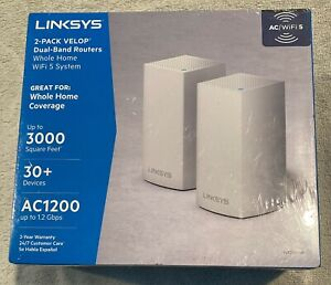 NEW LINKSYS 2-Pack VELOP Dual Band Routers Whole Home WiFi VLP0102-NP Free Ship