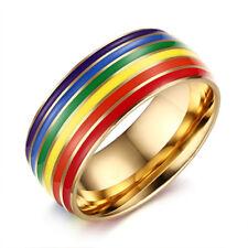 8mm Rainbow Woman Men Gay Lesbian LGBT Pride Ring Stainless Steel Enamel Jewelry
