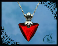 Fate Stay Night sterling silver / faux leather necklace with Rin Tohsaka pendant