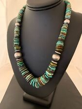 """Native American Navajo Green Turquoise Sterling Silver Necklace 20"""" 4680"""