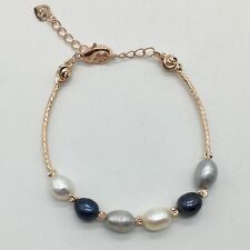 Light Grey, Dark Grey and White Freshwater Pearl Bracelet Rose Gold Plated New