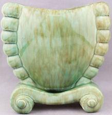 Green Scrolly Mottled PATES Large Freestanding Vase Vintage 1950s