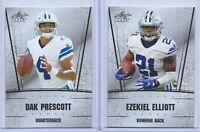 2 DAK PRESCOTT & EZEKIEL ELLIOTT 2016 LEAF DRAFT SILVER EDITION ROOKIE CARD LOT!