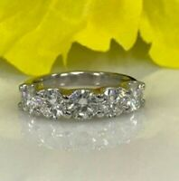 2Ct Round Cut VVS1 Moissanite 5 Stone Engagement Ring In 925 Sterling Silver