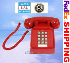 RETRO RED PUSH BUTTON CORDED BASIC DESK PHONE TELEPHONE VINTAGE STYLE NEW