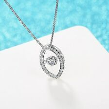 Sterling Silver Halo Dancing Cubic Zirconia Stone Evil Eye Pendant Necklace A8