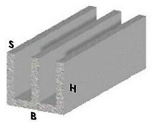 profilo canalino a doppia U cm 200 h finitura silver 16x12x1 mm in alluminio ano