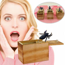 Funny Wooden Prank Spider Scare Box Hidden in Case Trick Play Joke Gag Toys NT