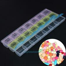 7 Day Weekly Transparent 21 Compartment Tablet Pill Box Holder Case Container