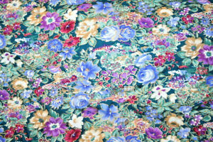 VINTAGE BLUE AND PURPLE GILDED FLORAL FROM PETER PAN FABRIC - 100% COTTON FABRIC