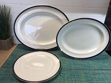 """ALFRED MEAKIN BLEU DE ROI 19 1/4"""" & 16"""" OVAL SERVING PLATTERS & 13"""" ROUND PLATE"""