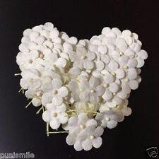 100 Pcs White Scrapbook Craft Mulberry Paper Flower Wedding Artificial Card