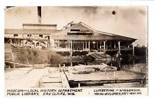 RPPC real photo Eau Claire,WI. Museum Lumbering in WI. lumber raft occupational#