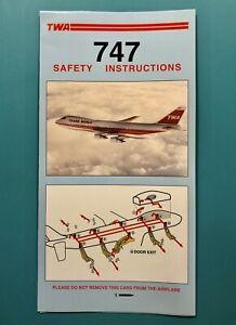 TWA SAFETY CARD--747-1996