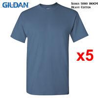 5 Pk Gildan Indigo Blue T-SHIRT Blank Plain Basic Tee S - 5XL Men Heavy Cotton