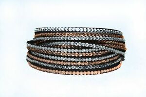 Swarovski style slake fabric rhinestone wrap bracelet - Beige shades