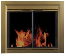 Fireplace Doors Small Tinted Glass Surface Mount Design Antique Brass Finish