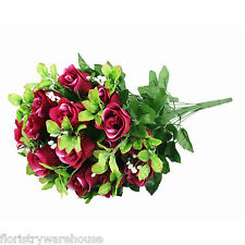 Artificial silk Rose & Gyp flower bouquet 55cm 24 stems of Burgundy Roses