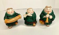 Dept 56 Merry Makers 3 Musical Instruments Monks Concertinist Horn Flute(issues)