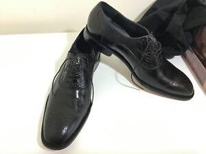 Belvedere $299 Men's dress shoes Black Genuine Alligator Vamp & Leather Sz 11.5