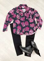 Hush Floral Shirt Long Sleeve Sz Small Pink Back Mix Button Down Collar