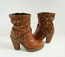 Pilar Abril Brown Ankle Booties US 8.5 EU 39 Giraffe Animal Print Boots