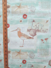 SAND PIPER POST CARDS SHELLS WRITING FLOWERS TEAL TAN BEIGE COTTON FABRIC FQ