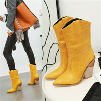 Women's Western Mid Calf Chunky Boots Pull On Pointed Toe High Heel Cowboy Shoes
