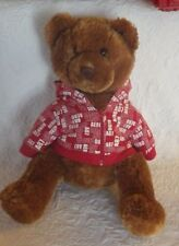 "Aeropostale Teddy Bear Brown W/Hoodie Plush Stuffed Animal 16"" Tall"