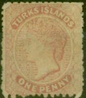 Turks Et Caïques Est 1867 1d Dull Rose SG1 MTD Mint
