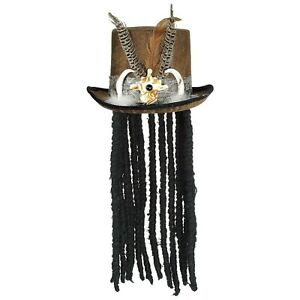 Voodoo Witch Doctor Hat With Dreads Accessories Fancy Party Halloween Costume