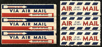 USA Par Avion VIA AIR MAIL Postage Labels POD #19 3584-B 1960 Cinderella MINT OG