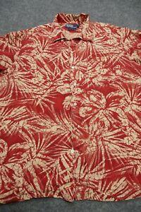 Ralph Lauren Button Up Shirt Adult Large Red Floral Silk Linen Preppy Casual Men
