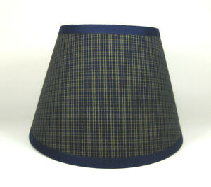 Country Primitive Navy Plaid Homespun Fabric Lampshade Lamp Shade