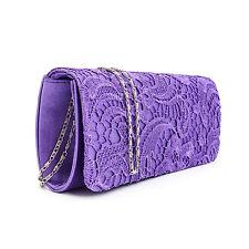 Satén Floral Lace Diseñador Bolsa De Embrague Noche Bolso Fiesta Damas Boda Para Mujer