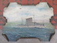 TIN PAINTING of WORLD WAR I HMS SUTLEJ BRITISH NAVY ARMOURED CRUISER 1899 ESCORT