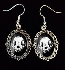 Cat Skull Antique Silver Drop Earrings Steampunk Goth Victorian